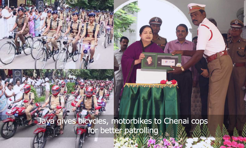 Jaya gives bicycles, motorbikes to Chennai cops for better patrolling