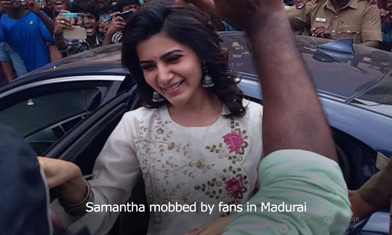 Samantha mobbed by fans in Madurai