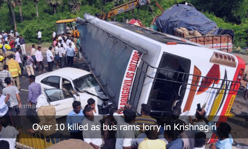 Over 10 killed as bus rams lorry in Krishnagiri