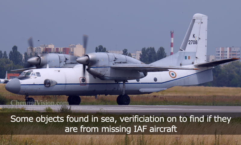 Some objects found in sea, verificiation on to find if they are from missing IAF aircraft