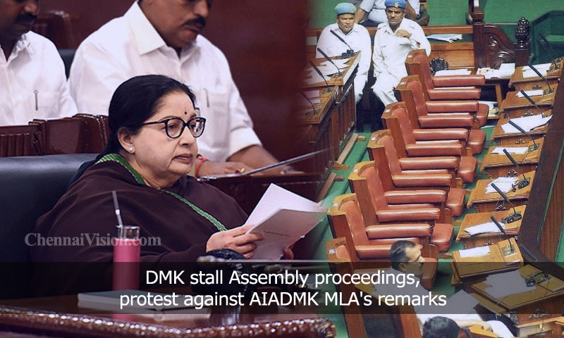 DMK stall Assembly proceedings, protest against AIADMK MLA's remarks