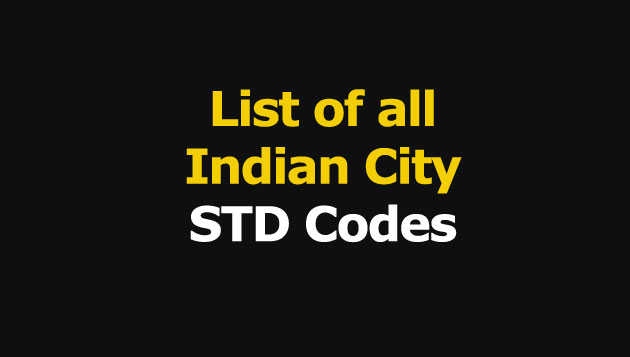 STD Codes in India, List of Telephone STD Codes, Search STD Code