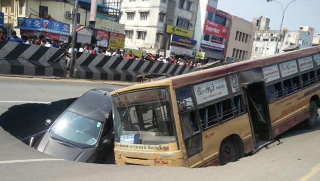 Bus, car trapped in cave-in on Anna Salai; miraculous escape for passengers