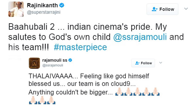 Baahubali 2: Rajini's message and Rajamouli's reply
