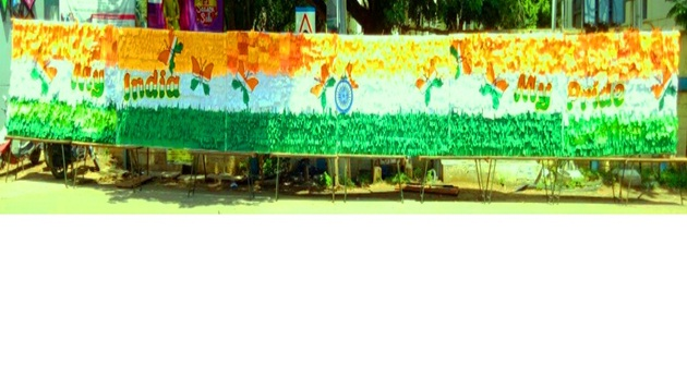71 Velammal students remember 71st Independence Day by creating National Flag