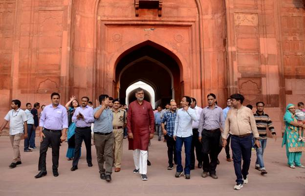Union Minister of State for Culture & Tourism (IC) Shri Prahlad Singh Patel reviews the progress of ongoing conservation work & development of public amenities at the Red Fort